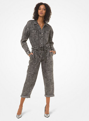 MICHAEL Michael Kors MK Acid-Wash Denim Jumpsuit - Black - Michael Kors