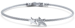 Charriol White Topaz Double Star Cable Bracelet (1/10 ct. t.w.) in Sterling Silver & Stainless Steel