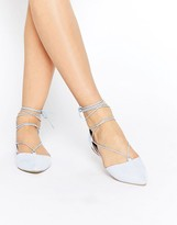 Call it SPRING Cinnabar Light Blue Lace Up Ghillie Flat Shoes