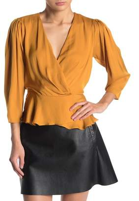 Naked Zebra Satin 3/4 Sleeve Wrap Peplum Blouse