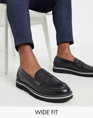 Feud London wide fit leather loafer in black/snake