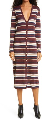 L'Agence V-Neck Stripe Long Sleeve Midi Sweater Dress