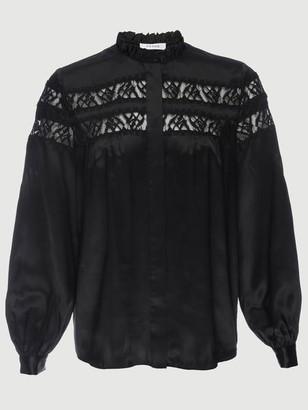 Frame Silk Paneled Lace Long Sleeve