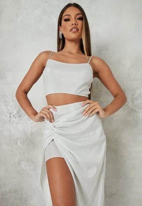 Missguided Glitter Co Ord Crop Top