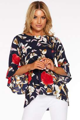 Quiz Navy And Red Floral Frill Sleeve Top