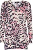 Wallis Pink Animal Print V-Neck Jumper