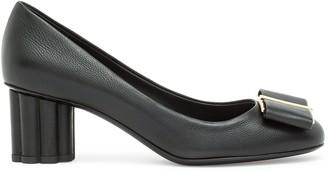 Salvatore Ferragamo Capua 55 black calf flower heel pumps