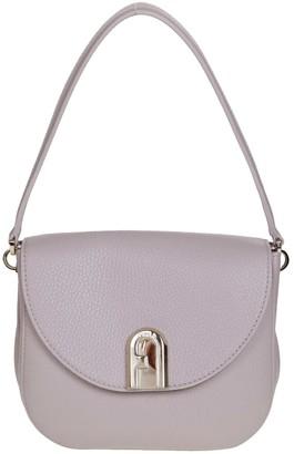 Furla Sleek Mini Shoulder Bag In Beige Color Leather