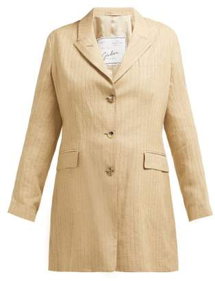 Giuliva Heritage Collection The Karen Pinstriped Single-breasted Linen Blazer - Womens - Beige