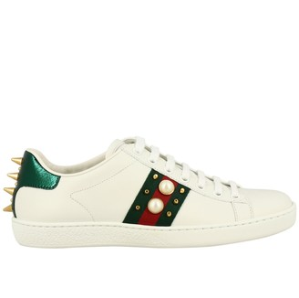 Gucci New Ace Sneakers In Leather With Maxi Pearls Web And Studs
