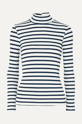 Frame Striped Ribbed Stretch-knit Turtleneck Top - Off-white
