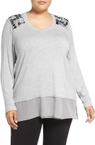 Melissa McCarthy Plus Size Women's Layer Look Embellished Top