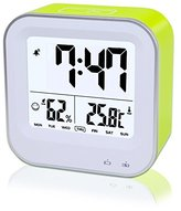 Digital Alarm Clock Rechargeable, Samshow Portable Clock with Temperature, Humidity, Week 12/24h Display, Snooze, Sensor Backlight, Loud Alarm for Heavy Sleepers, Teens, Kids (Green)