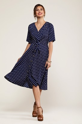 Yumi Navy Spot Tie Knot Button Detail Dress