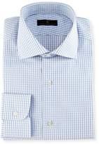 Ike Behar Gold Label Windowpane Check Dress Shirt, White/Blue