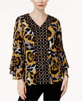 Alfani Printed Flared-Sleeve Top, Created for Macy's