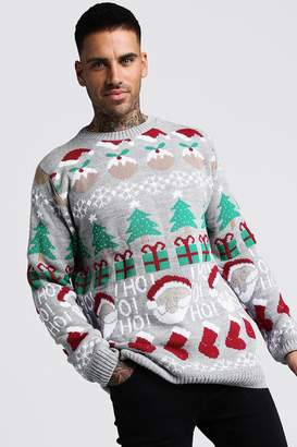 boohoo All Over Festive Knitted Christmas Jumper