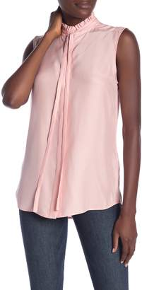 Frame Ruffle Neck Sleeveless Silk Blouse