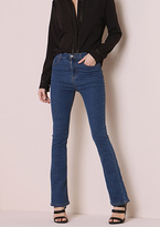 Missy Empire Brittany Blue Denim Mid Rise Flared Jeans