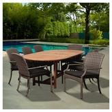 Household Essentials Amazonia Sandestin 9pc Eucalyptus/Wicker Extendable Oval Patio Dining Set - Brown