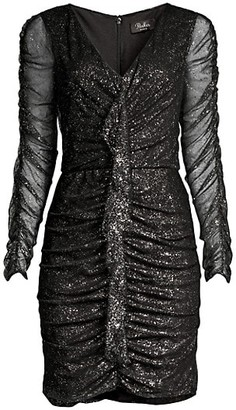 Parker Black Cynthia Glittered Ruched Mini Dress