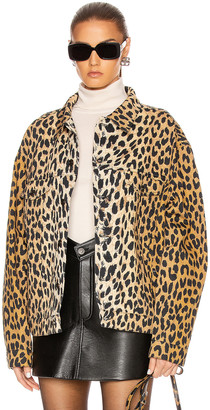 Balenciaga Denim Leopard Jacket in Beige | FWRD