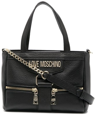 Love Moschino Zip-Detail Leather Tote Bag