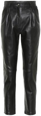 Etro High-rise slim leather pants