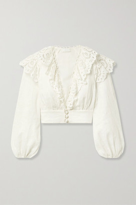 Zimmermann Bellitude Cropped Broderie Anglaise-trimmed Swiss-dot Linen Top - White