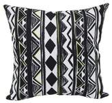 Aztec Stripe Square Outdoor Throw Pillows in Black (Set of 2)