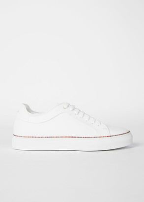 Paul Smith Men's White Leather 'Basso' Sneakers With 'Signature Stripe' Piping