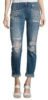 7 For All Mankind Josephina Distressed Boyfriend Jeans with Pearly Details, Indigo