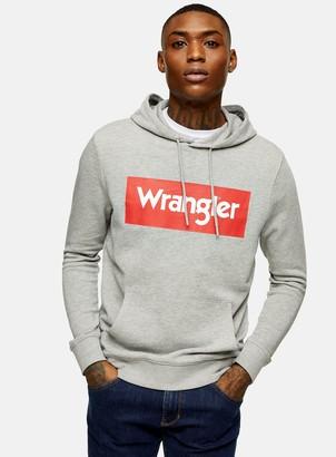 Topman WRANGLER Box Logo Grey Pull Over Hoodie
