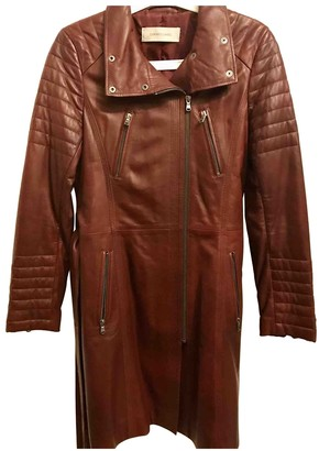 Gerard Darel Burgundy Leather Coat for Women