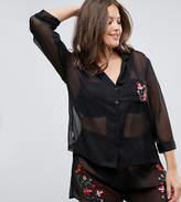 Asos PREMIUM Embroidered Sheer Shirt & Short Pajama Set