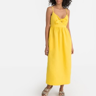 La Redoute Collections Linen Midi Dress with Bow Detail