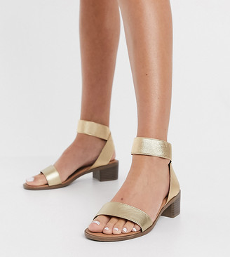 New Look Wide Fit elasticated strap sandals in gold