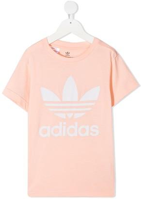 Adidas Originals Kids Trefoil-print cotton T-shirt