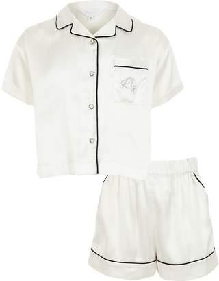 River Island Girls white satin RI short pyjamas