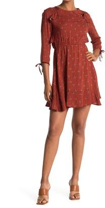 Velvet Torch Floral Ruffle Trim Mini Dress