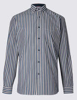 Blue HarbourMarks and Spencer Pure Cotton Striped Shirt with Pocket