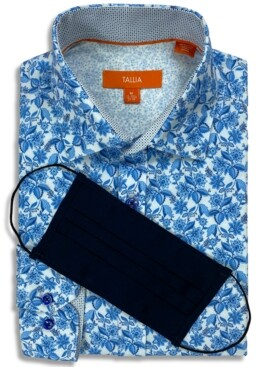Tallia Receive a Free Face Mask with purchase of the Men's Slim-Fit Performance Stretch Floral Print Dress Shirt