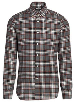 Kiton Plaid Flannel Shirt