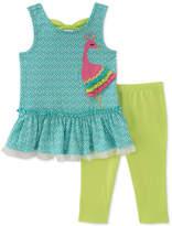 Kids Headquarters 2-Pc. Peacock Tunic & Leggings Set, Toddler Girls
