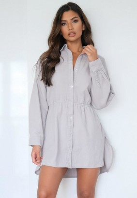Missguided Lilac Tie Back Oversized Denim Shirt Dress