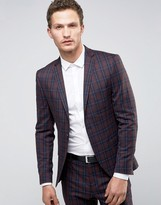 Selected Super Skinny Suit Jacket In Check