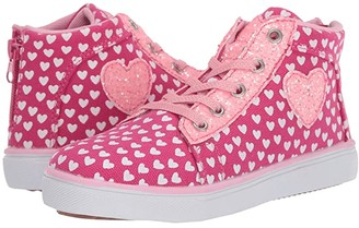 Hatley Lots of Hearts High Top Sneakers (Toddler/Little Kid) (Pink) Girl's Shoes