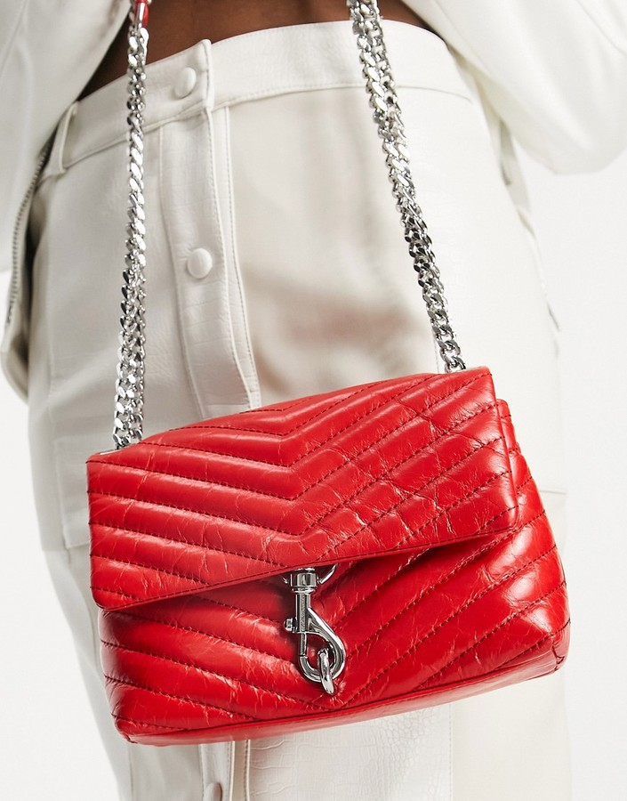 Thumbnail for your product : Rebecca Minkoff edie leather shoulder bag with flap front in red