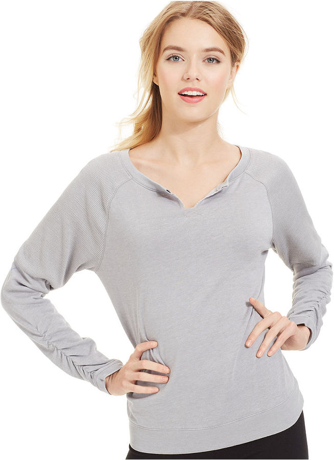 Calvin Klein Super Soft Ruched-Sleeve Pullover Top