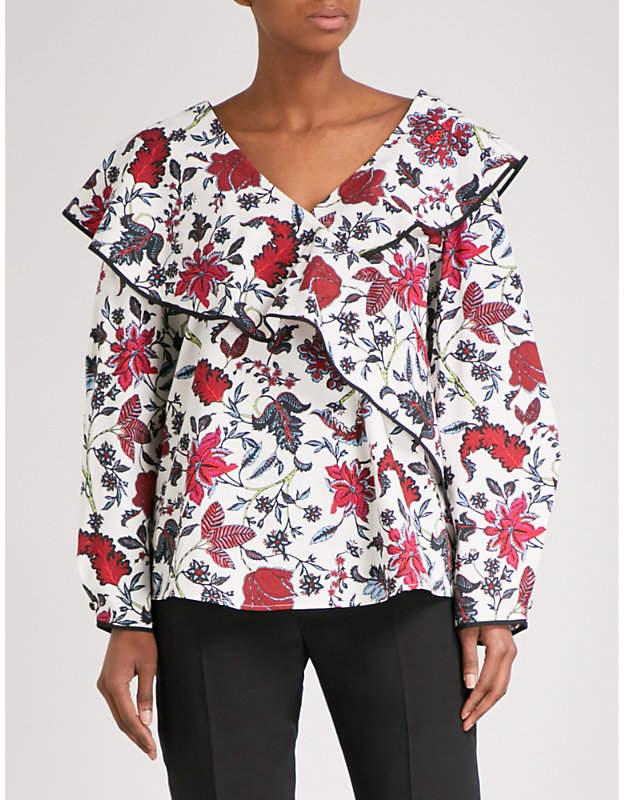Diane von Furstenberg Canton-print ruffled cotton blouse